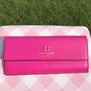 Kate Spade Pink Smooth Leather Long Wallet